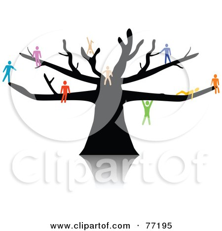 Royalty-Free (RF) Clipart Illustration of a Colorful Paper People Climbing, Sitting And Hanging On A Black Tree by Jiri Moucka