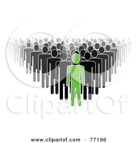 Royalty-Free (RF) Clipart Illustration of a Crowd Of Black And Gray Paper People Standing Behind A Green Leader by Jiri Moucka