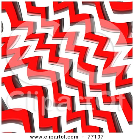 Royalty-Free (RF) Clipart Illustration of a Seamless Background Of Zig Zag Red Geometric Lines Over White by Arena Creative