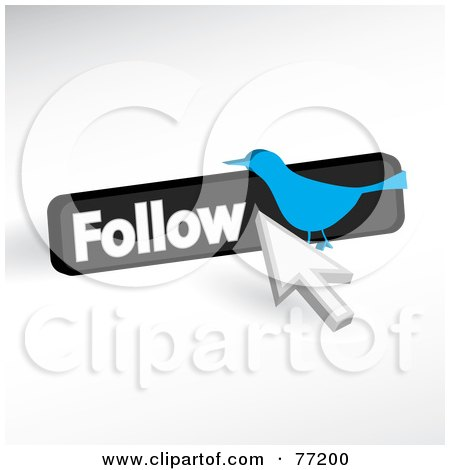 Royalty-Free (RF) Clipart Illustration of a Social Blue Bird Follow Icon With A Cursor by Arena Creative