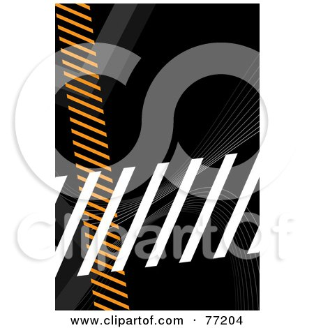 Royalty-Free (RF) Clipart Illustration of a Orange, Gray And White Hazard Stripes Over Black by Arena Creative