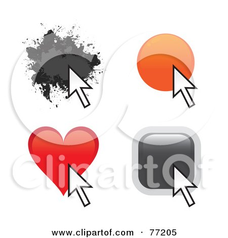 Royalty-Free (RF) Clipart Illustration of a Digital Collage Of Splatter, Circle, Heart And Square Website Buttons With Arrow Cursors by Arena Creative