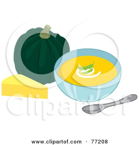Royalty-Free (RF) Clipart Illustration of a Bowl Of Creamy Cheese And Squash Soup by Rosie Piter