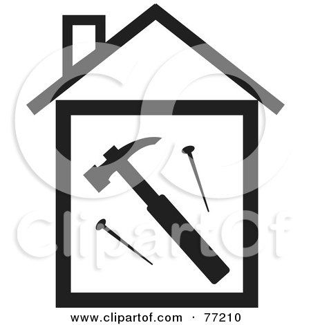 Royalty-Free (RF) Clipart Illustration of a Hammer And Nails In A Black And White House by Rosie Piter