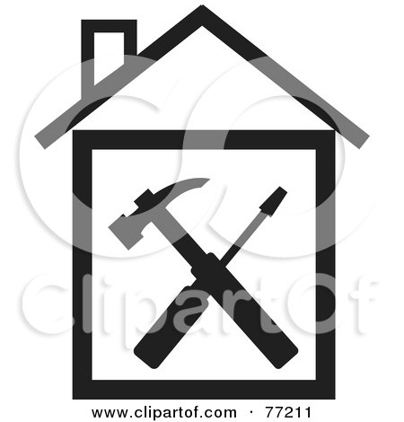 Royalty-Free (RF) Clipart Illustration of a Hammer And Screwdriver In A Black And White House by Rosie Piter