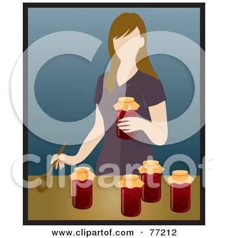 Royalty-Free (RF) Clipart Illustration of a Caucasian Woman Canning Tomatoes In A Kitchen by Rosie Piter