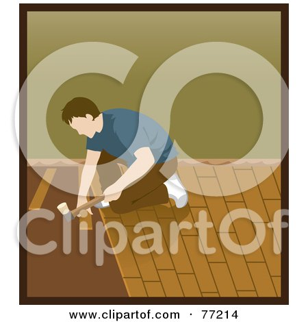 Royalty-Free (RF) Clipart Illustration of a Caucasian Man Kneeling And Hammering While Installing Wood Floors by Rosie Piter