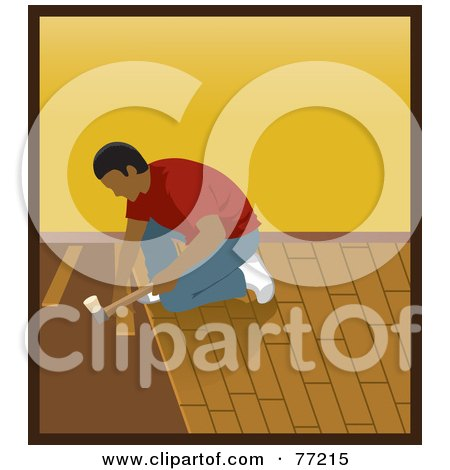 Royalty-Free (RF) Clipart Illustration of a Hispanic Man Kneeling And Hammering While Installing Wood Floors by Rosie Piter