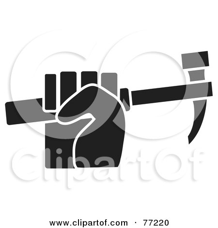 Royalty-Free (RF) Clipart Illustration of a Black And White Hand Clenching A Hammer by Rosie Piter