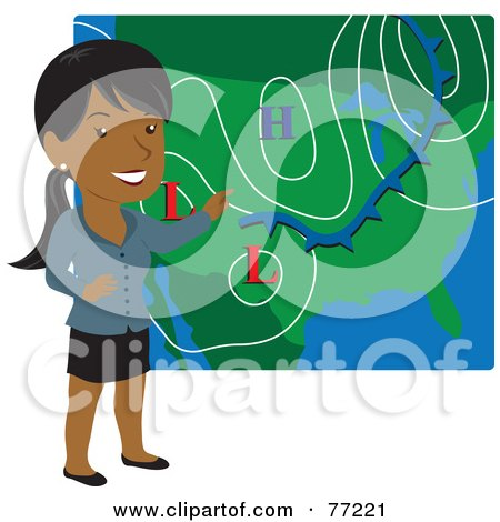 Royalty-Free (RF) Clipart Illustration of a Smiling Hispanic Weather Girl Discussing Weather Patterns by Rosie Piter