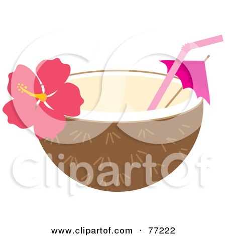 Royalty-Free (RF) Clipart Illustration of a Halved Coconut With A Straw, Umbrella And Hibiscus Flower by Rosie Piter