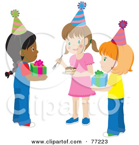 Group Of Girls Holding Presents And Cake At A Birthday Party Posters, Art Prints