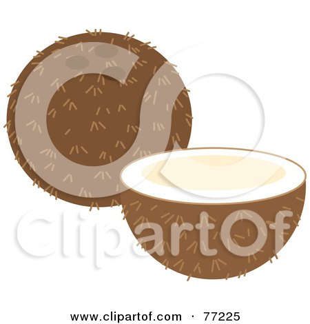 Royalty-Free (RF) Clipart Illustration of a Halved Coconut Fruit By A Whole Coconut by Rosie Piter