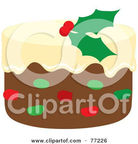 Royalty-Free (RF) Clipart Illustration of a Christmas Fruit Cake With Vanilla Frosting And Holly by Rosie Piter