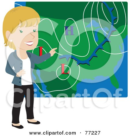 Royalty-Free (RF) Clipart Illustration of a Smiling Caucasian Weather Girl Discussing Weather Patterns by Rosie Piter