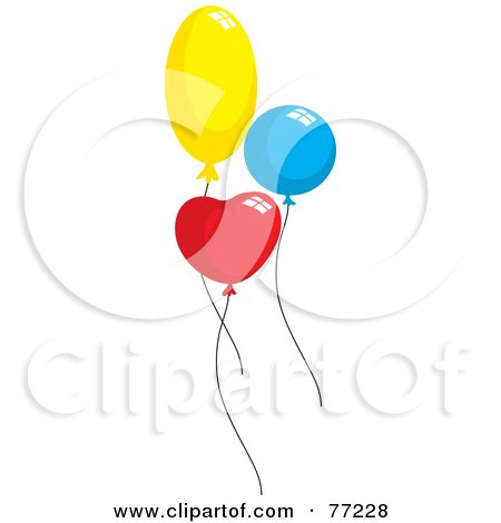 Royalty-Free (RF) Clipart Illustration of Three Yellow, Blue And Red Heart, Round And Oval Party Balloons by Rosie Piter