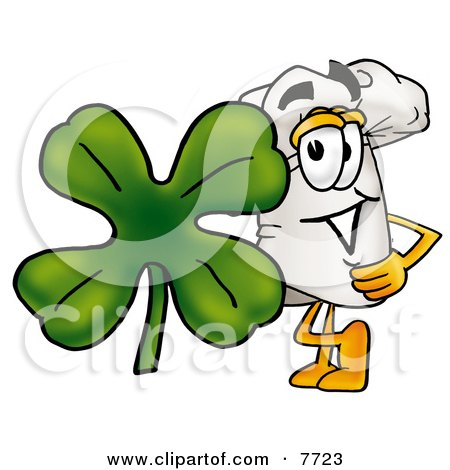 Clipart Picture of a Chefs Hat Mascot Cartoon Character With a Green Four Leaf Clover on St Paddy's or St Patricks Day by Toons4Biz