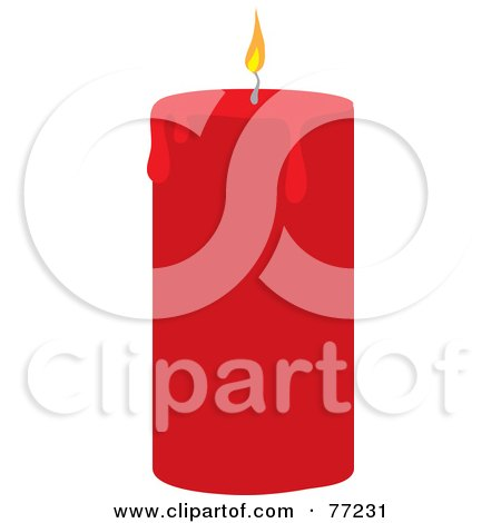 Royalty-Free (RF) Clipart Illustration of a Red Candle With A Lit Wick And Melting Wax by Rosie Piter