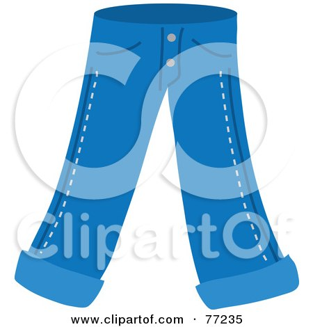 Royalty-Free (RF) Clipart Illustration of a Pair Of Blue Jeans With Folded Ankles by Rosie Piter