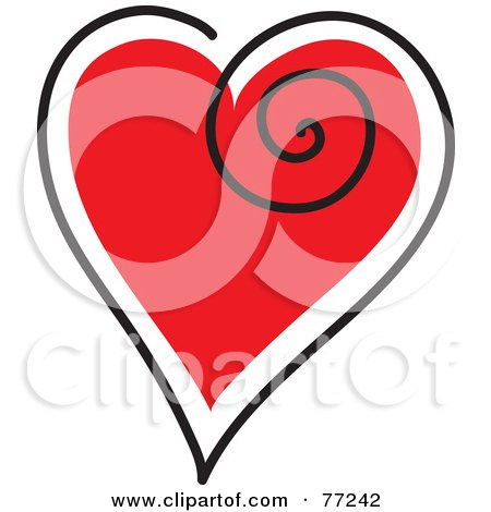 Royalty-Free (RF) Clipart Illustration of a Red Heart Outlined In White And Black With A Swirl by Rosie Piter