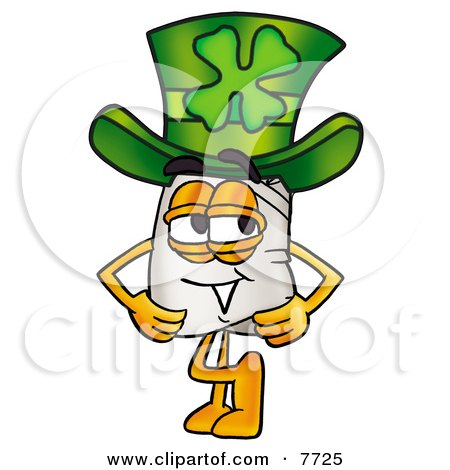 Clipart Picture of a Chefs Hat Mascot Cartoon Character Wearing a Saint Patricks Day Hat With a Clover on it by Toons4Biz