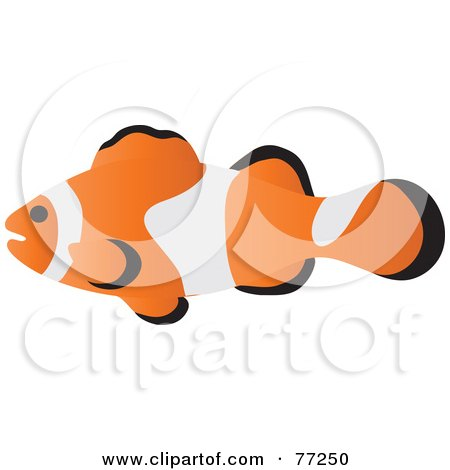 Royalty-Free (RF) Clipart Illustration of a Profiled Clownfish by Rosie Piter
