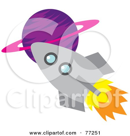 clipart rocket ship. Royalty-free clipart picture of a rocket shooting past a purple planet,
