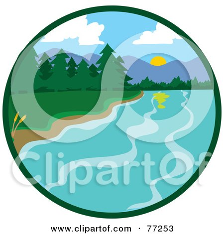 Royalty-Free (RF) Clipart Illustration of a Circle Scene Of A Lake Shore With Lush Green Forests And Mountains by Rosie Piter