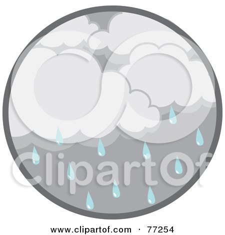 Royalty-Free (RF) Clipart Illustration of a Circle Of Dark Rain Clouds And Droplets by Rosie Piter