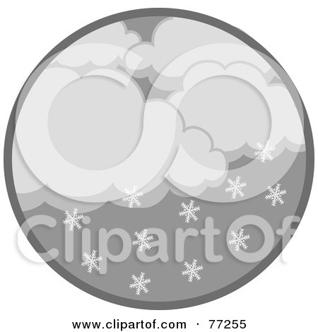 Royalty-Free (RF) Clipart Illustration of a Circle Of Dark Clouds And Snowflakes by Rosie Piter