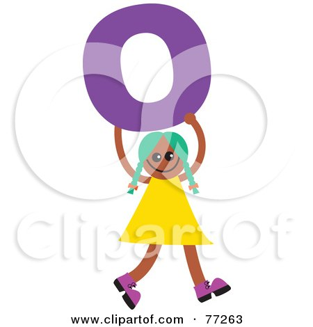 Royalty-Free (RF) Clipart Illustration of an Alphabet Kid Holding A Letter; Girl Holding O by Prawny