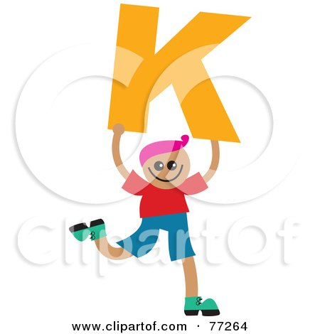 Royalty-Free (RF) Clipart Illustration of an Alphabet Kid Holding A Letter; Boy Holding K by Prawny