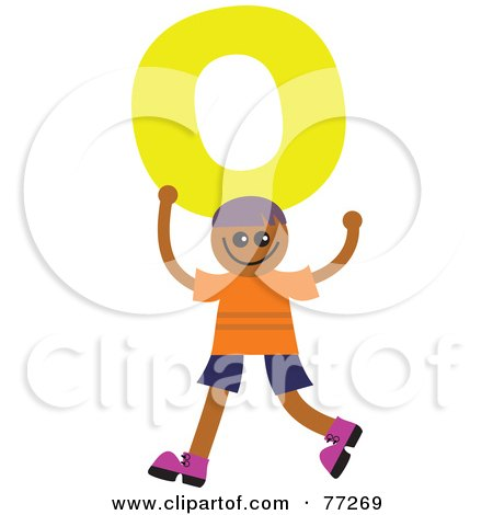 Royalty-Free (RF) Clipart Illustration of an Alphabet Kid Holding A Letter; Boy Holding O by Prawny