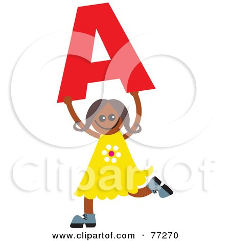 Royalty-Free (RF) Clipart Illustration of an Alphabet Kid Holding A Letter; Girl Holding A by Prawny
