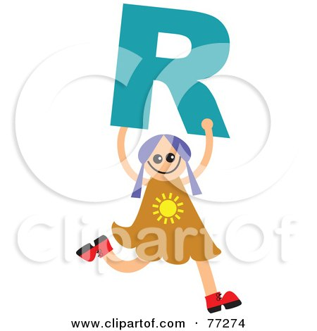 Royalty-Free (RF) Clipart Illustration of an Alphabet Kid Holding A Letter; Girl Holding R by Prawny
