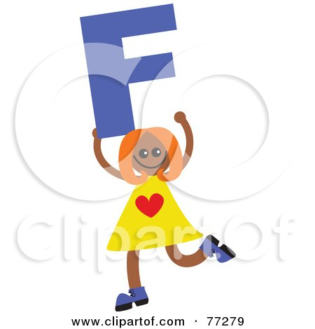 Royalty-Free (RF) Clipart Illustration of an Alphabet Kid Holding A Letter; Girl Holding F by Prawny