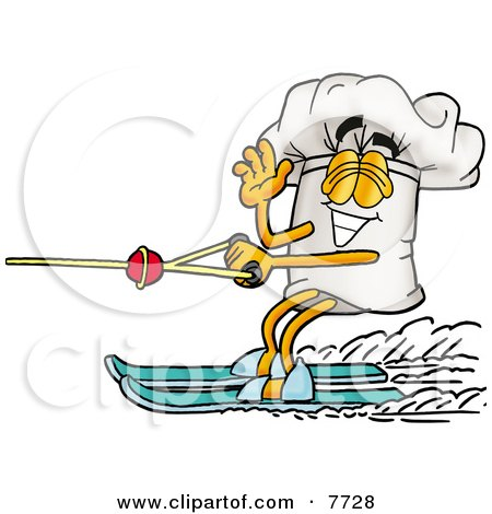 Royalty-Free (RF) Clipart Illustration of a Man Water Skiing And Eating Ice