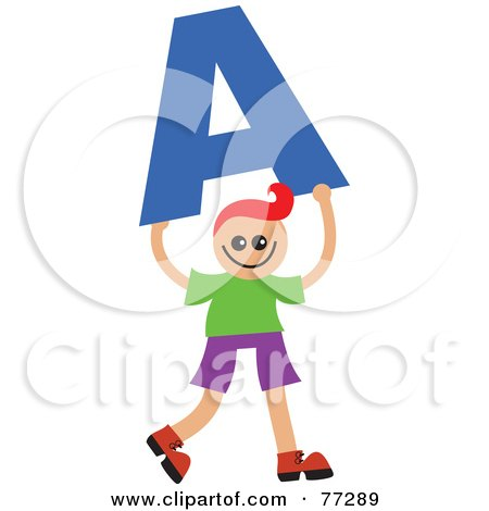Royalty-Free (RF) Clipart Illustration of an Alphabet Kid Holding A Letter; Boy Holding A by Prawny