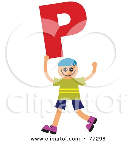 Royalty-Free (RF) Clipart Illustration of an Alphabet Kid Holding A Letter; Boy Holding P by Prawny