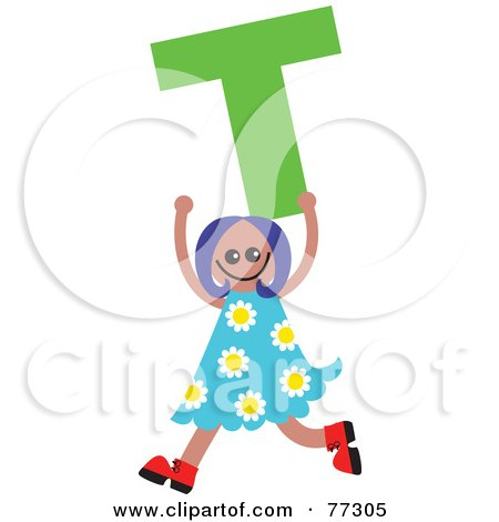 Royalty-Free (RF) Clipart Illustration of an Alphabet Kid Holding A Letter; Girl Holding T by Prawny