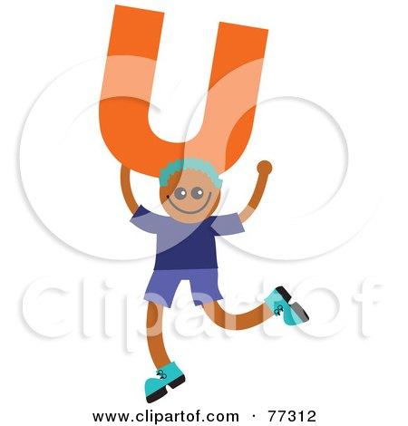 Royalty-Free (RF) Clipart Illustration of an Alphabet Kid Holding A Letter; Boy Holding U by Prawny