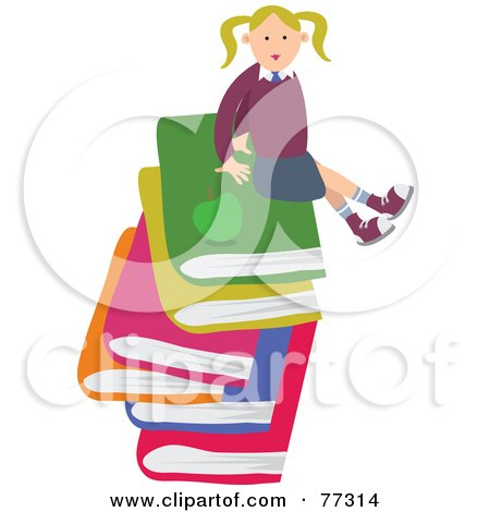 Royalty-Free (RF) Clipart Illustration of a Happy Blond School Girl Sitting On A Stack Of Large Books by Prawny