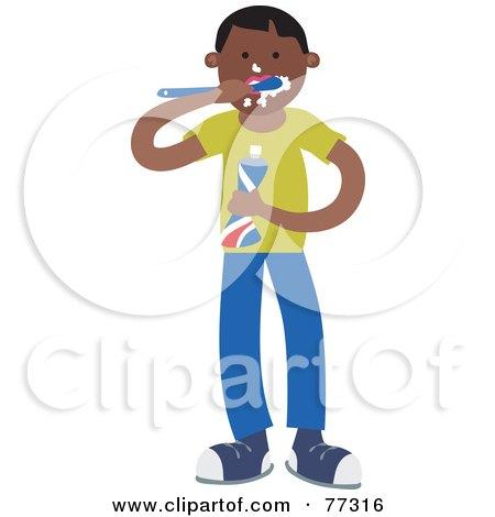 Royalty-Free (RF) Clipart Illustration of a Hispanic Boy Brushing His Teeth by Prawny
