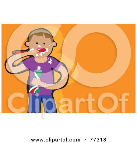 Royalty-Free (RF) Clipart Illustration of a Caucasian Boy Messily Brushing His Teeth by Prawny