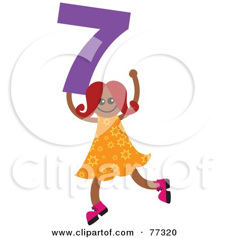 Royalty-Free (RF) Clipart Illustration of a Number Kid; Girl Holding 7 by Prawny
