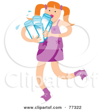 Royalty-Free (RF) Clipart Illustration of a Little Girl Carrying Many Glasses Of Water by Prawny
