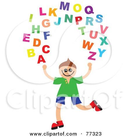 Royalty-Free (RF) Clipart Illustration of a Happy Boy Juggling The Alphabet by Prawny