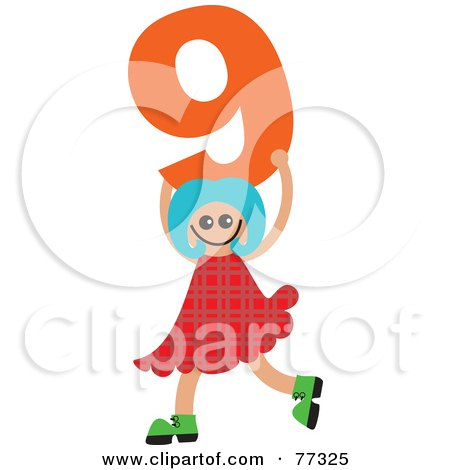 Royalty-Free (RF) Clipart Illustration of a Number Kid; Girl Holding 9 by Prawny