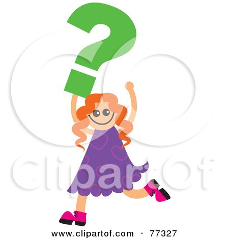 Royalty-Free (RF) Clipart Illustration of a Happy Girl Carrying A Green Question Mark by Prawny