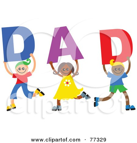 Royalty-Free (RF) Clipart Illustration of Three Children Holding Letters Spelling Out Dad by Prawny